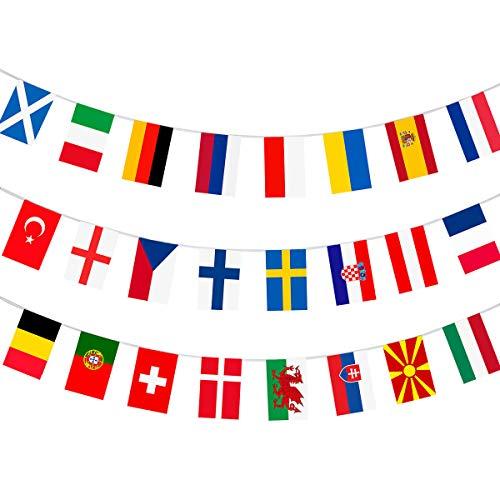 AhfuLife EM 2021 Flaggenkette Europäische Fußball meisterschaft, EURO 2021 Fußball Fahnenkette, 24 Nationalagge für Garten, Bar, Restaurant und Partydekoration 20 x 28 cm-11 m (1 Packung)