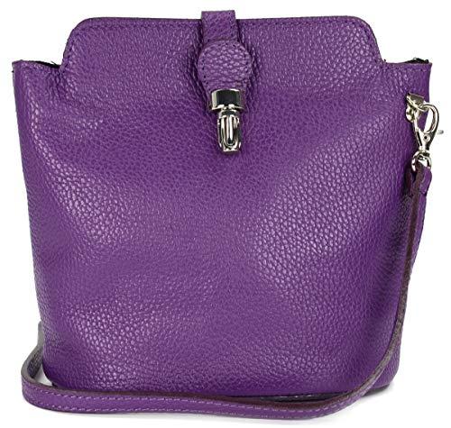 Belli italienische Ledertasche Damen Umhängetasche Handtasche Schultertasche in lila - 18x20x8 cm (B x H x T)