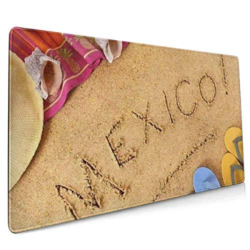 Mauspad, Extended Gaming Mousepad , Verlängerte rutschfeste Mauspads Geeignet für Gamer, Büros, Lernräume usw. Mexican Beach Mexico Deckenhut Flip Flops On Sands
