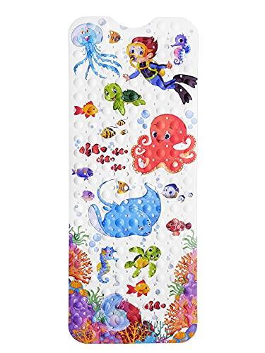 NORDA® Premium Badewannenmatte für Kinder - Geruchsneutrale Antirutschmatte DermaTrue-Soft. Extra Lange Badewanneneinlage [100x40cm] mit kindlichen Ozeanmotiven.