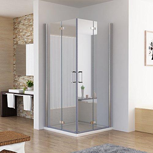 Duschkabine Eckeinstieg Dusche Falttür 180º Duschwand Duschabtrennung NANO Glas (90x90x197cm / ohne Duschtasse)