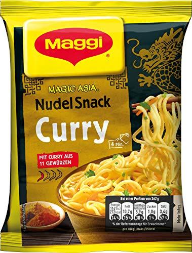 Maggi Magic Asia Nudel Snack Curry, leckeres Fertiggericht, Instant-Nudeln, mit aromatisch-pikantem Curry-Geschmack, 12er Pack (12 x 62g)