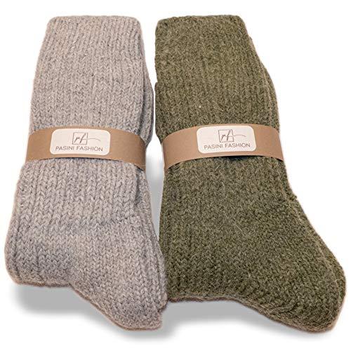 PASINI FASHION 2 Paar - Herren schwere Alpaka-Socken - EVEREST Collection - warm und bequem, in einer Auswahl von zwei Farben (Sabbia e Verde, 39-42)