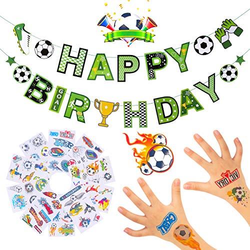 Kesote Girlande Fußball Kinder Tattoos Kindergeburtstag Deko Partykette Happy Birthday Party