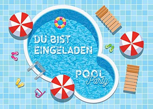 JuNa-Experten 12 Einladungskarten Kindergeburtstag Schwimmbad Mädchen Jungen Jungs Geburtstagseinladungen Einladungen Geburtstags-Party Poolparty Kartenset