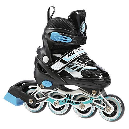 Inlineskates Inline-Skates Inliner Rollschuhe verstellbar Sport S M L NJ1828 (Schwarz, M)