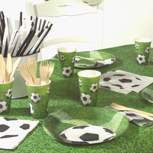 Einweggeschirr & Besteck 40-teiliges Partyset Fussball: 10 Pappteller, 10 Pappbecher und 20 Servietten