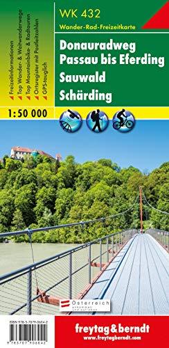 WK 432 Donauradweg Passau bis Eferding - Sauwald - Schärding, Wanderkarte 1:50.000