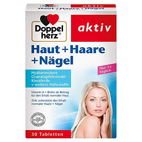 Doppelherz Haut Haare Nägel – Biotin unterstützt den Erhalt normaler Haare – Zink leistet einen Beitrag zum Erhalt normaler Nägel – 30 Tabletten
