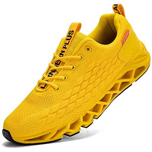 LARNMERN PLUS Laufschuhe Herren Sportschuhe Atmungsaktiv Turnschuhe Straßenlaufschuhe Sneaker Joggingschuhe Walkingschuhe Traillauf Fitness Schuhe(Gelb 44)