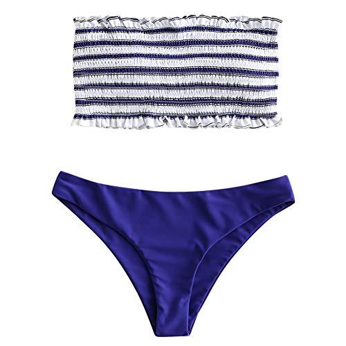 ZAFUL Damen Bikini-Set Gestreiftes Bikini Set mit Rüschen Bikiniset Bandeau BademodeBademode Swimwear Swimsuit Blau Medium