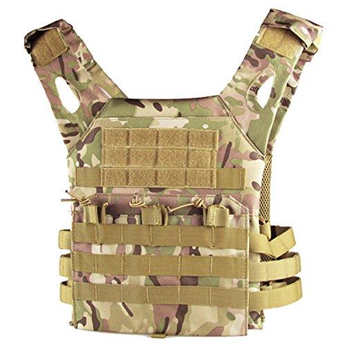 QHIU Taktische Weste Plate Carrier Camouflage Molle Schutz Multifunktions Kampf Militär verstellbares Vest für Airsoft Paintball CS SWAT Wargame Jagd Outdoor Sport