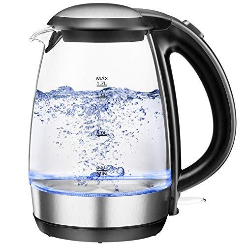 BPA frei Glas Wasserkocher 1,7L 2200W mit Edelstahlfilter Schnellkochfunktion Abschaltautomatik und LED-Anzeige, NOVETE Elektrischer Teekocher mit Überhitzungsschutz Trockenlaufschutz