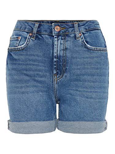 Pieces NOS Damen PCLEAH MOM HW MB213-BA/NOOS Shorts, Blau (Medium Blue Denim), 40 (Herstellergröße: L)