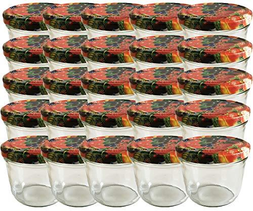 hocz 25-er Set Einmach-/Sturzgläser zum befüllen - 230 ml, Klarglas, Ø 8,1 cm, Schraubdeckel, inkl. 25 NZ Etiketten zum beschriften, Deckel Farbe: Obst