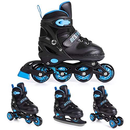 BESTIF Inliner für Kinder und Erwachsene Inline Skates 4in1 Rollschuhe Schlittschuhe Verstellbar (Schwarz-Blau, 34-37)