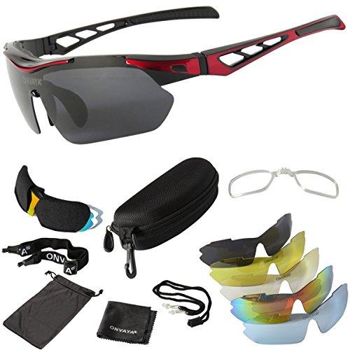 ONVAYA® Polarisierte UV400 Sportsonnenbrille 9 Teilig rot   Sportbrille mit Wechselgläsern   Radbrille   Sonnenbrille   Bikerbrille   Fahrradsonnenbrille One Size