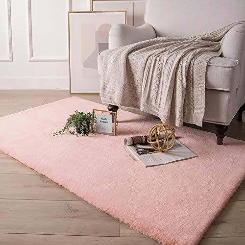 HETOOSHI Weicher Kunstkaninchenfell-Teppich,Plüsch Teppich,Decke aus Kunstfell Geeignet für Wohnzimmer Teppiche Flauschig Fell Optik Gemütliches Schaffell Bettvorleger Sofa Matte (Rosa, 120 x 160 cm)