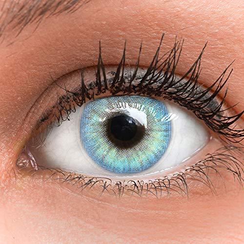 GLAMLENS Jasmine Light Blue Blau + Behälter   Sehr stark deckende natürliche blaue Kontaktlinsen farbig   farbige Monatslinsen aus Silikon Hydrogel   1 Paar (2 Stück)   DIA 14.00   ohne Stärke