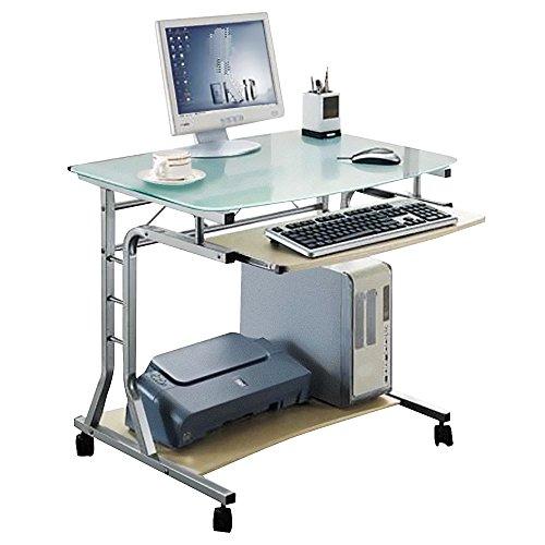 SixBros. Schreibtisch mit Glasplatte, rollbarer PC Tisch, Rollwagen, Kleiner Computerschreibtisch auf Rollen, 80 x 60 cm CT-3791A/41