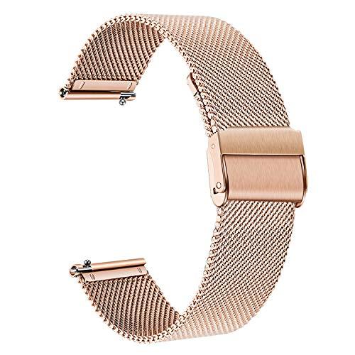 TRUMiRR Ersatz für 36mm Daniel Wellington Armband, 18mm Mesh Gewebte Edelstahl Uhrenarmband Armband für Nokia/Withings Activite/Pop/Steel HR 36mm, Fossil Damen Venture 3/4/HR 4, Ticwatch C2