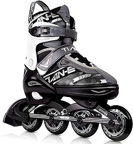 Inline-Skates für Kinder und Erwachsene, verstellbare Klingen Rollschuhe für Mädchen, Jungen und Jugendliche, Rollschuhe für Frauen und Männer (Black&White, L)
