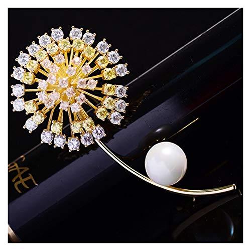 TAIYUAN Brosche Für Frauen Brosche Pin Goldenen und Roten Löwenzahn Mode Schmuck Kleidung Schal Schnalle Bekleidungs Zubehör (Schmucksteinfarbe : Gold)