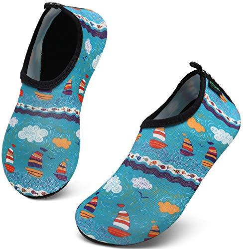 SAGUARO Badeschuhe Kinder Kleinkind Strandschuhe Schwimmschuhe Wasserschuhe Jungen Mädchen Aquaschuhe Barfußschuhe für Strand Schwimmbad(070 Mehrfarbig,24/25 EU)