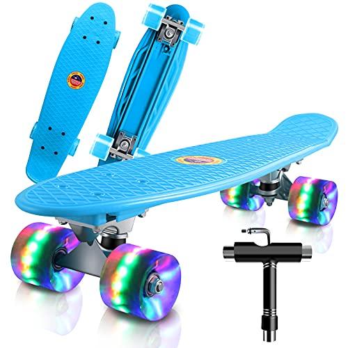 Saramond Skateboards Komplette 55cm Mini Cruiser Retro Skateboard für Kinder Teens Erwachsene Anfänger, Bunte LED-Räder mit All-in-One Skate T-Tool für Schule und Reisen (hellblau)