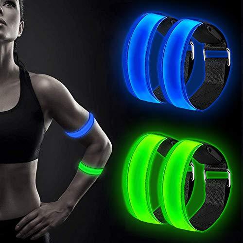 Alintor LED Armband, 4 Stück Reflektorband mit DREI Beleuchtungsmodi, Reflektoren Kinder, Leuchtband Lauflicht für Nachtlauf, Joggen, Radfahren, Hundewandern, Runing, Outdoor-Sports