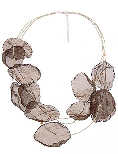 Leslii Damenkette Blüten Stoff-Kette Blumenkette Blätter Glasperlen braune Modeschmuck-Kette 64cm in Braun Khaki Beige