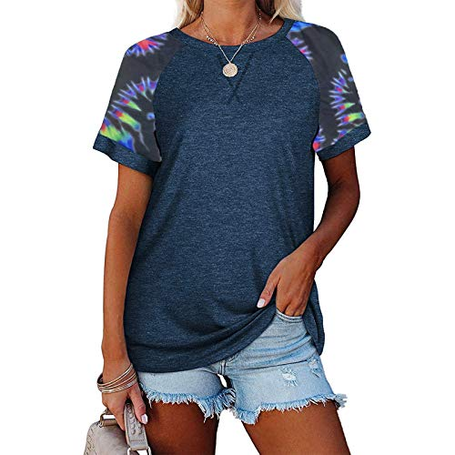 Masrin Damen Tops Sommer Kurzarm T-Shirt Lässige Kontrastfarbe Patchwork Shirts 3D Tie-Dye Print Pullover O-Ausschnitt Lose Tunika Basic All-Match Bluse (L,Dunkelblau)