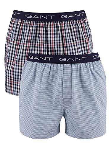 GANT Herren Mini Gingham Boxer Shorts 2-Pack Boxershorts, Classic Blue, L