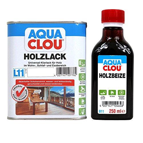 Clou Holz & Möbel Set Holzbeize B11 & Holzlack L11 - verschiedene Farbtöne und glanzgrade zur Auswahl (seidenglänzend, teak)