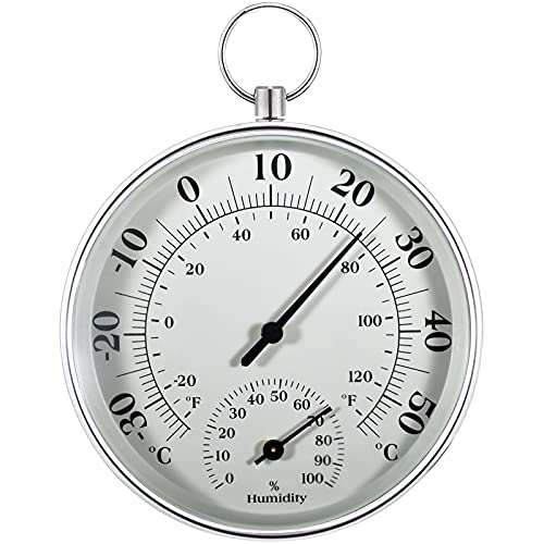 Thermometer Aussen - 10 cm Kabelloses Wandmontiertes Thermometer und Hygrometer, Analoges Thermo-Hygrometer Geeignet für Häuser, Gewächshäuser, Gärten, Autos usw, Ohne Batterien (Grau)