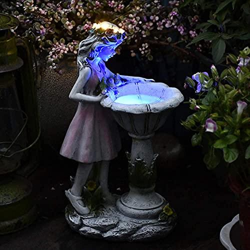 Gartendeko Figuren für Außen Groß Solarleuchte Garten Blumenfee Garten Deko Harz Blume Fee Solar Licht Harz Mädchen Outdoor Villa Garten Garten Dekoration