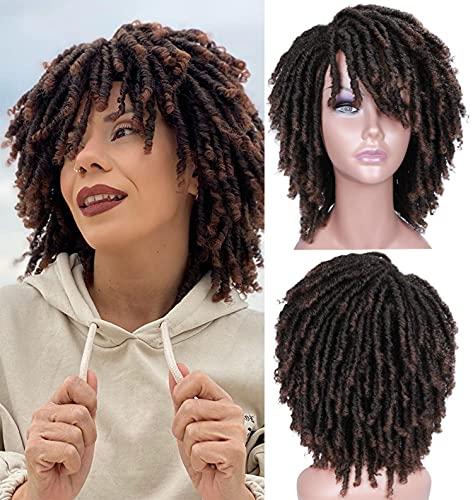 Perücke Afro Kinky Braun Damen kurze wellige Perücken Locken für Frauen Synthetische Wig Natürlich lockige Perücke 036G