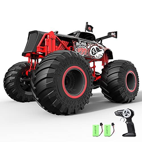 tech rc Offroad Ferngesteuertes Auto 1:14 RC Truck 2 Akku Geländewagen 2,4 GHz Offroad-Fahrzeug Buggy Elektro Spielzeug für Kinder Jungen Mädchen Kindergeschenk Spielzeugauto Skelett