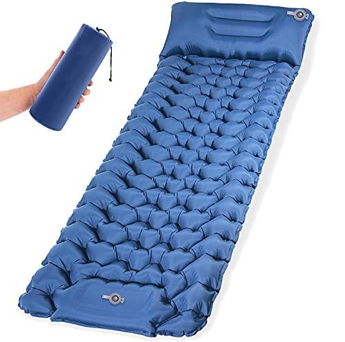 Isomatte Camping Schlafmatte mit Fußpresse Pumpe 9cm Dick Isomatte Selbstaufblasend langlebige wasserdichte kompakte Luftmatratze für Camping Zelte Wandern Backpacking Reisen