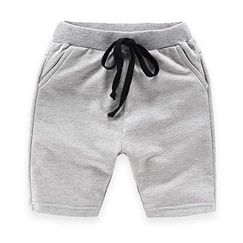 Mom's care Baby-Jungen Shorts Baumwolle Einstellbar Taille Hose Kinder Sommer Shorts, Grau - 120cm/6-7Y