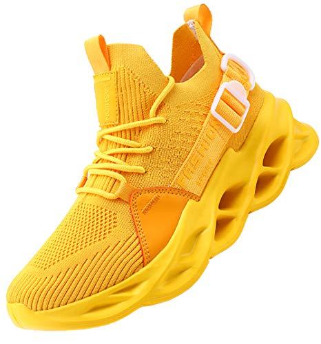 AARDIMI Herren Laufschuhe Fitness straßenlaufschuhe Sneaker Sportschuhe atmungsaktiv Anti-Rutsche Gym Fitness Schuhe (Gelb, Numeric_39)