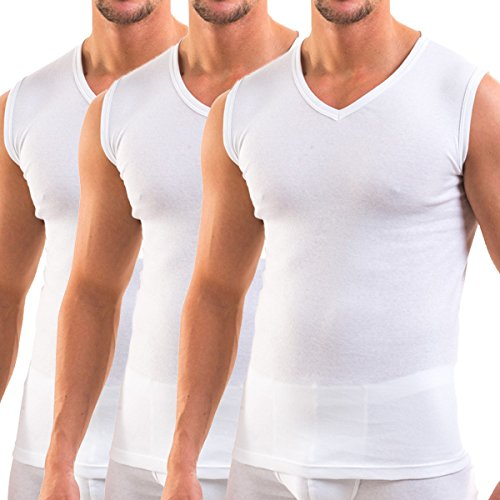 HERMKO 3050 3er Pack Herren Muskelshirt V-Ausschnitt (Weitere Farben) aus 100% Bio-Baumwolle, Größe:D 5 = EU M, Farbe:weiß