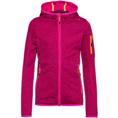 CMP Mädchen Hooded Knit Tech Fleece Jacke, Bouganville-Goji, 140