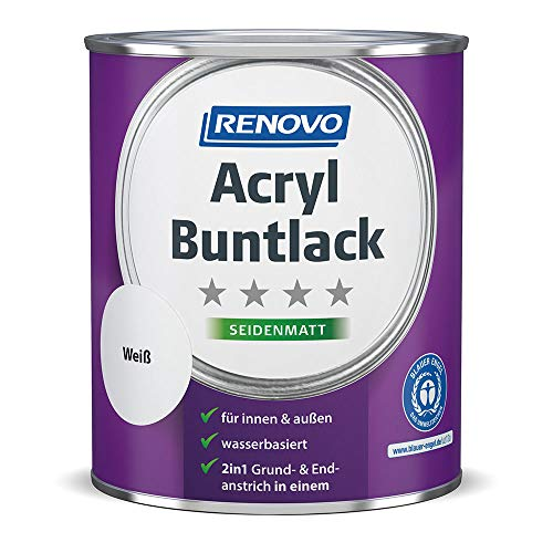 Renovo 2 in 1 Acryl Buntlack, 0,75 Liter 0095 weiß seidenmatt