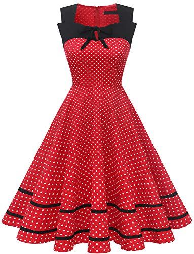 DRESSTELLS Damen 2021 Sommerkleid Kurz 1950er Motto Partykleid Rockabilly Polka Dots Swing Kleid Red Small White Dot 2XL