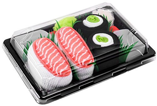 Rainbow Socks - Damen Herren - Sushi Socken Lachs Nigiri Gurken Maki - Lustige Geschenk - 2 Paar - Größen 41-46