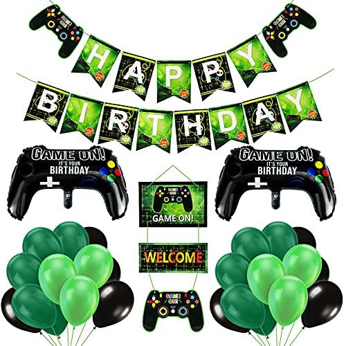 Thedttoy Luftballons Geburtstag Junge, Happy Birthday Deko Junge und Männer, 50 STK Videospiel Party Dekoration Set, Player Geburtstagsdeko Banner und Balloons für Game Theme Party