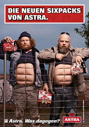 ASTRA Bier Werbung/Reklame Plakat DIN A1 59,4 x 84,1cm Die neuen Sixpacks, kultiges Poster aus St. Pauli