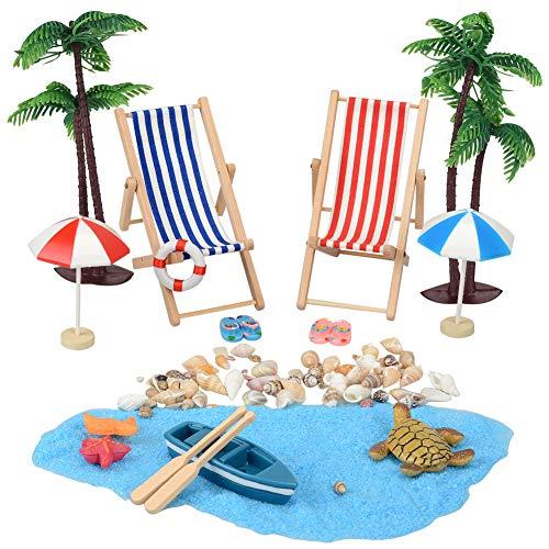 YIKANWEN Strand-Mikrolandschaft Miniliegestuhl Strandkorb Sonnenschirm Kleine Palme Deko Accessoires für Sandkasten Puppenhaus Modellbau Garten Pflanzen-Dekoration – 17-teiliges Komplettset