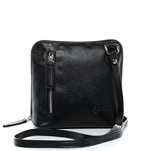 BACCINI Umhängetasche echt Leder Cynthia klein Schultertasche Handtasche mit Schultergurt Ledertasche Damen schwarz